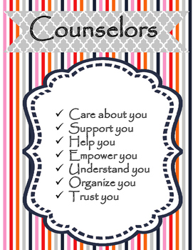 School Counselor Signs for your door and office decor