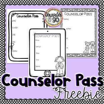 School Counselor Student Pass Freebie