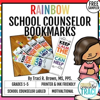 School Counselor Themed Bookmark - Rainbow