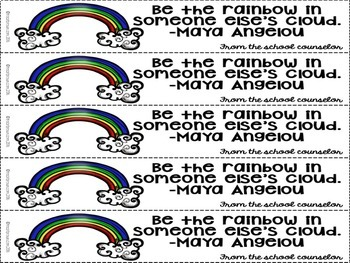 School Counselor Themed Bookmarks - Rainbow