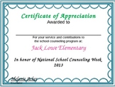 School Counselor's Week Certificate for Staff