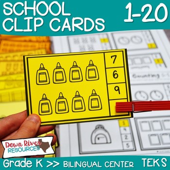 School Counting Clip Cards 1-20 | Kindergarten Math Center | English & Spanish