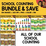 School Counting Scene Clipart Bundle