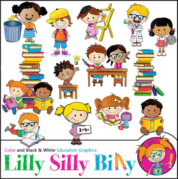 School Day. Clipart. BLACK AND WHITE & Color Bundle. {Lilly Silly Billy}