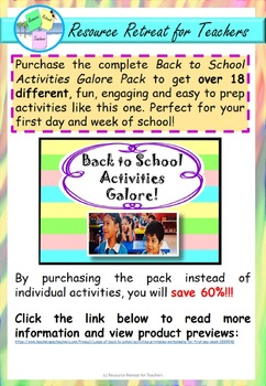 School Day Role Play Back to School Fun, Printable Worksheet