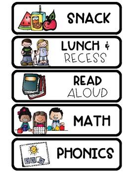 School Day Schedule Cards