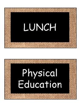 School Day Schedule Cards (BURLAP)