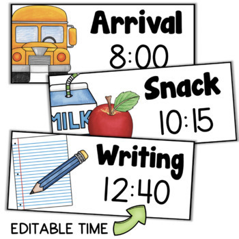 Daily Schedule Cards with Editable Times