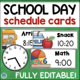 Daily Schedule Cards with Editable Times & Clocks - Visual Schedule