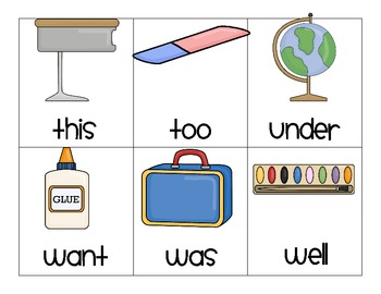 School Days - A sight word Read, Say, and Keep Game