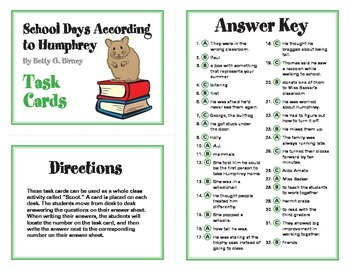 School Days According to Humphrey Task Cards By Betty G. Birney