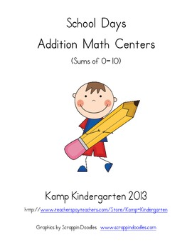 School Days Addition Math Centers (Sums of 0-10)