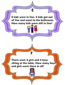 School Days Addition and Subtraction Problem Solving Task Cards
