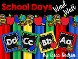 School Days Alphabet Word Wall Letters {Chalkboard & Bright Primary Stripes}