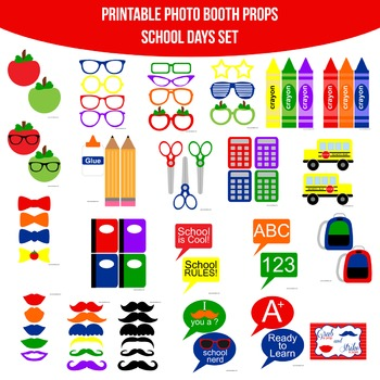 School Days Printable Photo Booth Prop Set
