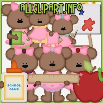 BUNDLED SET - School Days Bears 2 Clip Art & Digital Stamp Bundle