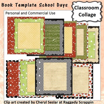 School Days Book Template - personal & commercial use