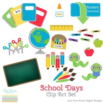 School Days Digital Clip Art set