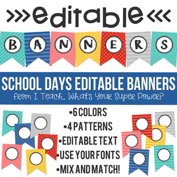 School Days Editable Banners