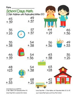 """""""School Days Math"""" 2 Digit Addition With Regrouping - Common Core! (color)"""