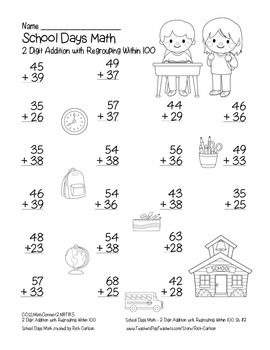 """""""School Days Math"""" 2 Digit Addition With Regrouping! (color & black line)"""