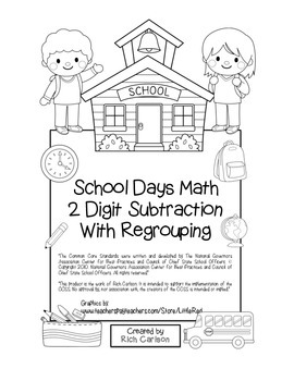 """""""School Days Math"""" 2 Digit Subtraction With Regrouping - FUN! (black line)"""