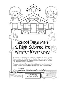 """""""School Days Math"""" 2 Digit Subtraction Without Regrouping - FUN! (black line)"""