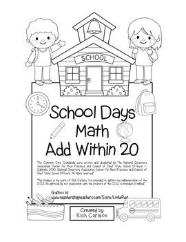 """School Days Math"" Add Within 20 - BACK TO SCHOOL FUN! (black line)"