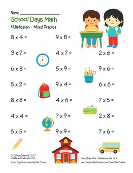 """""""School Days Math"""" Mixed Multiplication BACK TO SCHOOL FUN! (color)"""