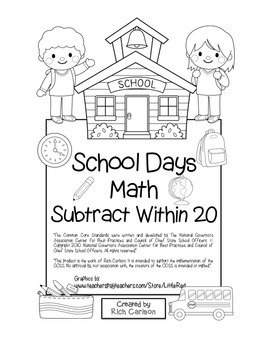 """School Days Math"" Subtract Within 20 - BACK TO SCHOOL FUN! (black line)"
