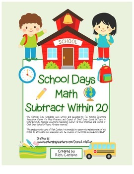"""""""School Days Math"""" Subtract Within 20 - BACK TO SCHOOL FUN! (black line & color)"""