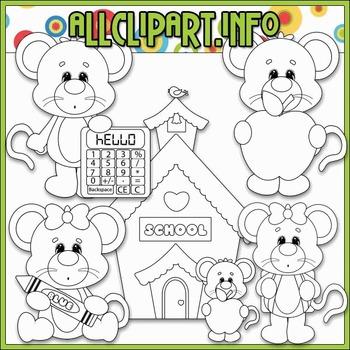 BUNDLED SET - School Days Mice 1 Clip Art & Digital Stamp Bundle