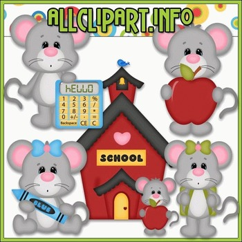BUNDLED SET - School Days Mice 1 Clip Art & Digital Stamp Bundle