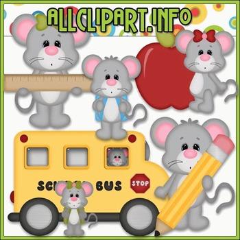 BUNDLED SET - School Days Mice 2 Clip Art & Digital Stamp Bundle