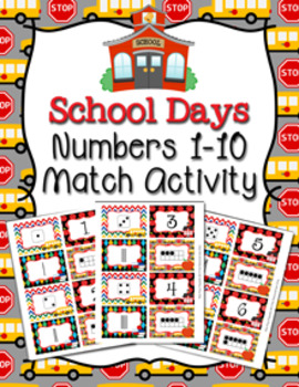 School Days Number Match Activity