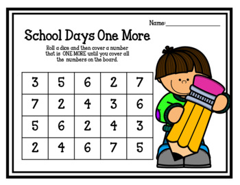 School Days One More One Less Board Game (addition & subtraction) Freebie