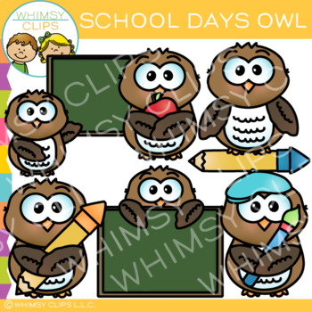 School Days Owl Clip Art
