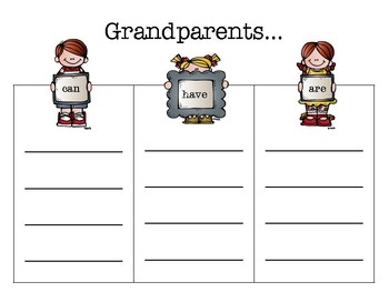 Grandparents can/have/are Brainstorming Activity
