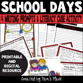 School Theme Roll-a-Cube Activity for Literacy and Language Skills