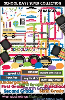 School Days SUPER CLIPART COLLECTION