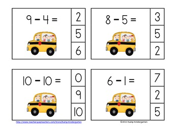 School Days Subtraction Math Centers (Minuends to 10)