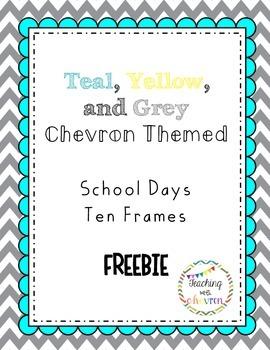 School Days Ten Frames - Teal-Yellow-Grey Chevron FREEBIE