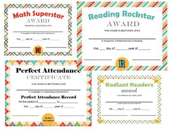 School Days Themed Certificates - Semester, End of Year - Elementary