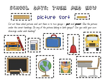 School Days: Then and Now - School Past & Present History mini unit
