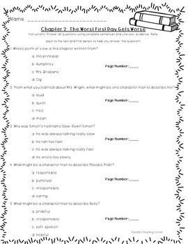 School Days according to Humphrey Comprehension Questions and Lesson Plans