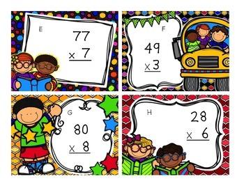 School Dayz Multiplication Task Cards (2 digit by 1 digit)