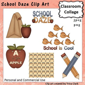 School Daze Clip Art Set  personal & commercial use