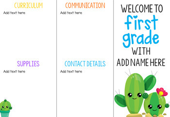 School Details Brochure EDITABLE *Cactus*