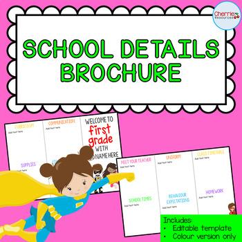 School Details Brochure EDITABLE *Superhero*