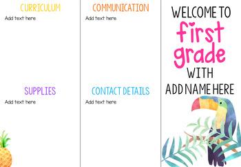 School Details Brochure EDITABLE *Tropical*